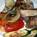 Grilled Vegetables with herbs de province - I used zucchini, summer squash, red onion, green onion, portabella mushroom, green pepper and red pepper. Use olive oil spray to go low fat.  No need for garlic.