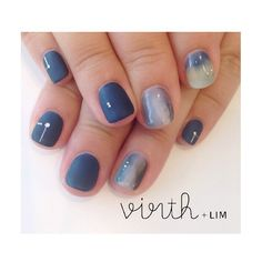 WEBSTA @ virth_lim - ○染め物みたいなネイル hand担当:ヤマグチ@yamaguchimachiko #virth#nail#NAIL#ショートネイル#ネイルデザイン#藍色