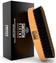 Beard Brush for Men - Best Facial Hair Comb for Mustache Conditioning Styling & Maintenance - With Boar Bristles for Easy Upkeep & Grooming - Distributes Products & Natural Waxes - Smooth Viking