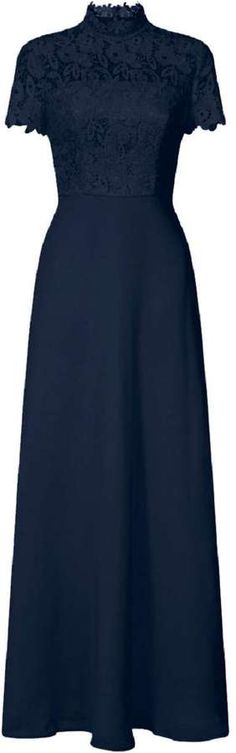 *Chi Chi London Navy Lace High Neck Maxi Dress