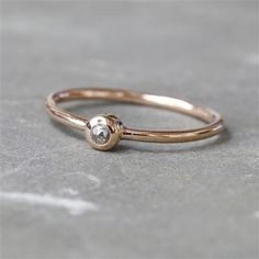 Rodgers & Rodgers Rose Gold Vermeil Slim Stacking Ring with a Diamond, Choose Size