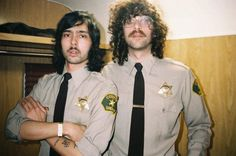 Xavier & Gaspard from Justice in cops uniforms Cop Uniform, Police, Gaspard, Music Images, Electronic Music, Cops, Mustache, Edm, Chef Jackets