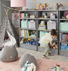 Searching for kids playroom ideas? The Land of Nod has tons of inspiration for every girls or boys playroom design. We all know that any playroom should be filled with personal and stylish details. That's why we've got a mega lineup of kids fu Kids Storage, Storage Design, Storage Ideas, Toy Storage, Playroom Storage, Organized Playroom, Family Room Design, Kids Room Design, Girl Room