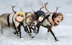 """Eren the tenacious reindeer, had a real loud scream. And if you ever heard it, you would curse him and his dream. All of the other reindeer used to laugh because he failed the gear. They never let poor Eren, come any where near. Then one scary, bloody day Levi came to say, """"Eren, get off you're butt tonight. You're coming with me because you're a Titan, alright."""" Then all the reindeer (sort of) loved him. Marco's death he did not see. Eren the tenacious reindeer, couldn't bear to hurt…"""