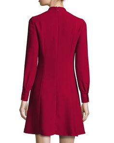 Pintucked-Bib Long-Sleeve Dress
