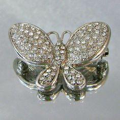 Vintage Lee Angel Butterfly Brooch Rhinestone Rhodium Plated