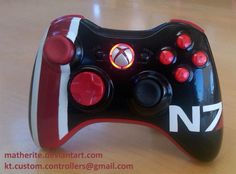 N7 Custom Xbox 360 Controller (Mass Effect) - MADE TO ORDER. $125.00, via Etsy.