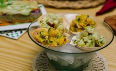 Ceviche sem peixe de batata-doce ou banana-da-terra
