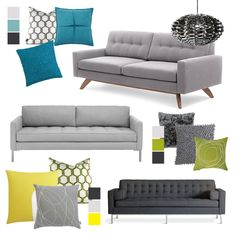 grey couch, pop pillows, 2 patterned chairs - living room