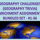 "This 74-page PDF document is a perfect solution for those higher learners in your social studies classes who need enriching activities.  Included are 36 pages, each with 10 multiple choice and open-ended geography-related trivia style questions, and 36 pages of answer keys.  These Geography Challenge assignments are versatile and can be used to fit your classroom's needs.  These can be used as a weekly assigned class project or as an enriching ""extra"" project for your higher learners.  $15"