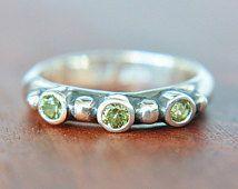 Peridot Sterling Silver Ring Peridot Engagement Ring Triple Peridot Ring Wedding Ring Stacking Green Gem Ring Promise Ring August Birthstone