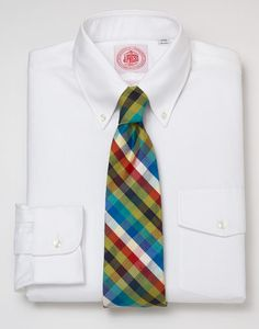 J. Press : 110th Anniversary | Dress Shirt — Trim-Fit Regular Oxford with Flap white; Made in USA $98.00