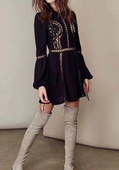Black Patchwork Lace Hollow-out Draped A-line Flare Sleeve Elegant Homecoming Mini Dress