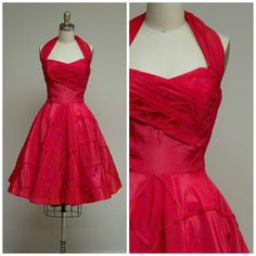 3d21349a5b2 Vintage 1950s Dress • Spark to Fire • Bright Red Taffeta 50s Halter Party  Dress with Diamond Pipping Detailed Full Circle Skirt Size Small