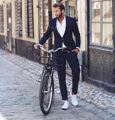 for warmer months // menswear, mens style, fashion, sneakers, summer, spring, navy suit, street style, haircut, hairstyle