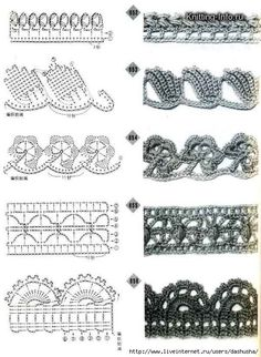 Crochet edging diagrams for a afghan. Scarf, pillowcase, baby blanket.....