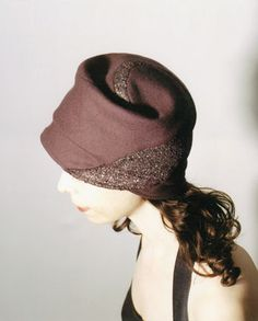 Spiral Jetty cloche, dusty purple wool with inset metallic wool spiral.
