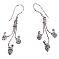 Drop earrings with Blue Topaz gemstone round and marquise shape  Silver 925