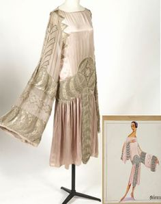 "1925 Lanvin evening dress ""Maharanee"" vintage fashion style color photo print ad model illustration designer couture 20s pink embroidered silver evening dress formal"