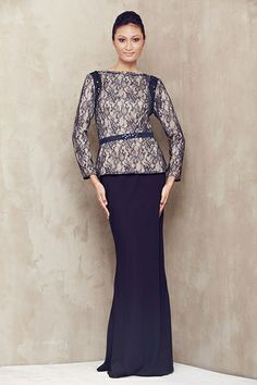 Lace Baju Kurung with Beaded Armhole - Navy