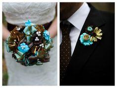 ribbon bridal bouquet and boutanniere