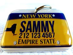 New York Empire State Car License Plate Rectangle Pet ID Tag