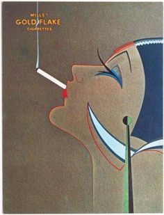 Art Deco Gold Flake Cigarettes Ad Greeting Card
