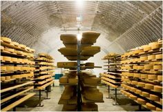well, if this is a cheese cellar. then I would like a wine cellar next door and just house that in Saks and I'd have died and gone to heaven. I Like Cheese, How To Make Cheese, Cheese Cave, Wine Cheese, Inexpensive Dates, Cheese Factory, Wisconsin Cheese, American Cheese, Cheese Bread