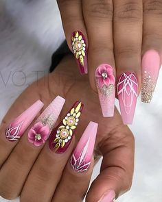 Expand fashion to your nails by using nail art designs. Donned by fashionable stars, these kinds of nail designs will add instantaneous style to your wardrobe. Pink Acrylic Nail Designs, Pink Acrylic Nails, Nail Art Designs, Stylish Nails, Trendy Nails, Stone Nails, Hair And Nails, My Nails, Nagel Bling