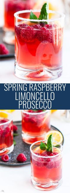 Raspberry Limoncello Prosecco - A refreshing and sparkling springtime lemon liquor cocktail with homemade raspberry simple syrup. add Limoncello soda instead Limoncello Cocktails, Prosecco Drinks, Sangria, Cocktail Drinks, Cocktail Recipes, Cocktail Ideas, Raspberry Cocktail, Bacardi Cocktail, Raspberry Cordial