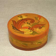 Norwegian Norway Handpainted Telemark Rosemaling Round Wood Handmade Box Tine #NorwegianRosemaling #unknown