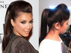 Kim Kardashian inspired Ponytail with a puff
