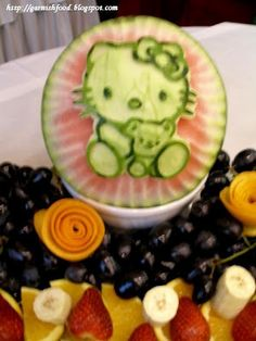 Fruit Carving Arrangements and Food Garnishes: Hello Kitty Fruit Display For Baby Shower