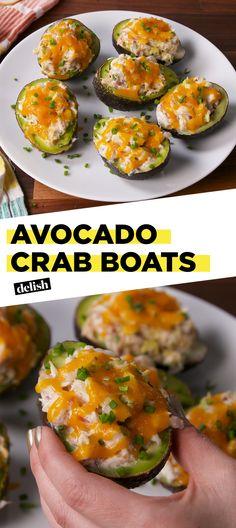 Avocado Crab Boats Are The Low-Carb Lunch of Your DreamsDelish Crab Recipes, Avocado Recipes, Paleo Recipes, Low Carb Recipes, Cooking Recipes, Recipes Dinner, Avocado Ideas, Potato Recipes, Vegetable Recipes