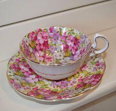 English Royal Standard Fine Bone China Floral Violets Teacup and Saucer