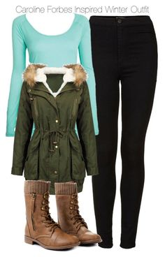 """""""Caroline Forbes Inspired Winter Outfit"""" by staystronng ❤ liked on Polyvore featuring Topshop, Winter, tvd and carolineforbes"""