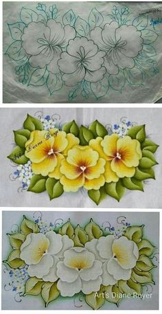 Flower Pattern Drawing, Floral Drawing, Easy Flower Drawings, Bird Drawings, Floral Embroidery Patterns, Hand Embroidery Designs, Painting Patterns, Fabric Painting, Fabric Paint Designs