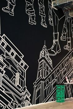 Tape art-A mural installed on a wall #home #decor