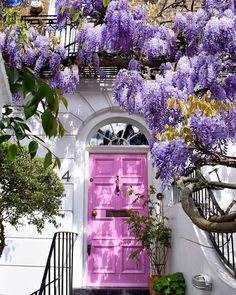 Notting Hill (London) Wisteria and a pink door create a beautiful and happy entrance to this house 🌳🌸🌳. Cool Doors, Unique Doors, Entrance Doors, Doorway, Door Entryway, Entrance Ideas, House Entrance, Wonderful Flowers, Belle Photo