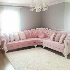 Stunning Ideas To Decorate Stylish Living Room Living Room Decor Curtains, Living Room Sofa Design, Home Living Room, Living Room Designs, Bedroom Decor, Home Decor Furniture, Luxury Furniture, Pink Furniture, Pastel Living Room