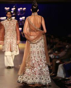 Nude Net Ivory Jaal Work Lengha - Indian Couture Week 2014 - Runway - Shop Women