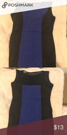 Black and Royal Blue Party Dress Black and royal blue knee length dress with sheer upper back. Stretch material. Great for a date night, parties, or GNO! Forever 21 Dresses