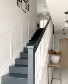 Painted staircase, ditching the carpet and panelling the wall. Stair Wall Decor, Stair Walls, Stairs, Painted Staircases, Kitchen Reno, Home Renovation, Paneling Ideas, Panelling, Staircase Ideas