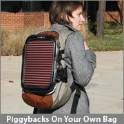 Piggyback solar panel for your backpack.  Add solar to your favorite bag.