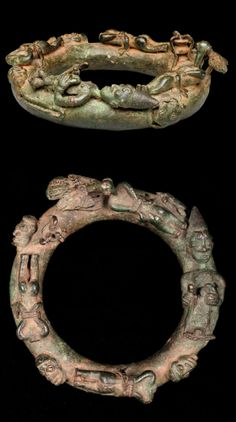 Africa | Ring depicting ritual sacrifice, from the Yoruba people of Nigeria | c. 18th century | Cast copper alloy
