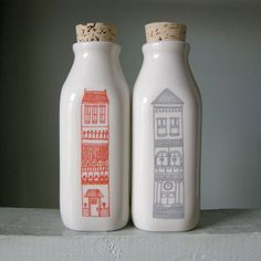 "Julia Rothman ""Lux Apts Milk Bottles"": Laser etched ceramic milk bottles"