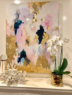 "Blush and Navy Original Large Canvas Painting Gray, Silver, Green, Chinese Ink Painting Ombre Glitter with Resin Coat 30 ""x - Abstract Painting Blue Painting, Ink Painting, Painting Abstract, Large Painting, Diy Abstract Art, Abstract Landscape, Grand Art, Gold Leaf Art, Art Original"