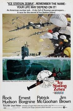 'Ice Station Zebra', 1968 - This was Rock Hudson's first film after completing his contractural obligations to Universal Studios. No expense was spared in this film by MGM, in bringing Alistair McLean's Cold War thriller to the screen. And Hudson more than proved himself, as the no nonsense Commander of the U.S.S Tigerfish - Also, featuring a talented cast headed by British actor, Patrick McGoohan & veteran actor Ernest Borgnine, as well as Jim Brown as the tough Marine Captain on a mission.