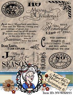 Christmas 6 Word Art Clipart Sentiments Digital Stamp