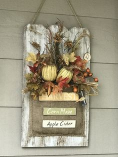 Wall Hanging Flower Arrangements Etsy Ideas For 2019 Hanging Flower Arrangements, Fall Arrangements, Pumpkin Decorating, Porch Decorating, Fall Crafts, Diy And Crafts, Diy Wood Wall, Burlap Wall Decor, Repurposed Wood